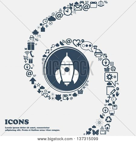 Rocket Icon In The Center. Around The Many Beautiful Symbols Twisted In A Spiral. You Can Use Each S