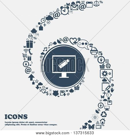 Usb Flash Drive And Monitor Sign Icon. Video Game Symbol In The Center. Around The Many Beautiful Sy