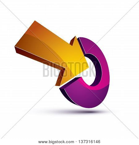 3D Abstract Vector Symbol With An Arrow Pointing Into Target. Objective Conceptual Special Sign.