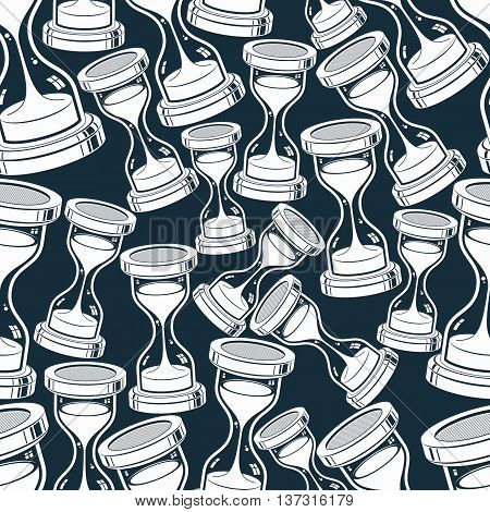 Seamless background with classic sand-glasses vector antique hourglasses. Time without end concept