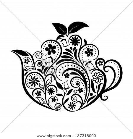 Vector Floral Ornamental Teapot Over White. Zen art teapot style. Element for menu, cafe, restaurant, bar and tea house designs. Black teapot flower design