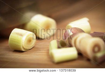 Close up of Pink lemongrass on a chopping board