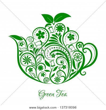 Vector Floral Green Ornamental Teapot Over White. Zen art teapot style. Element for menu, cafe, restaurant, bar and tea house designs. Green teapot flower design