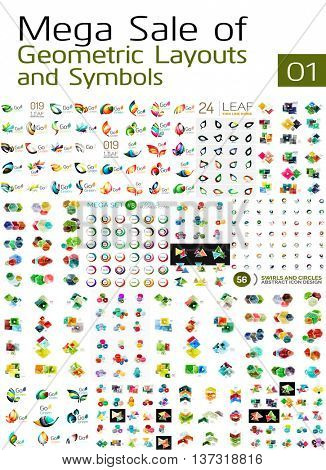 Mega collection of abstract symbols, company logos and infographics, universal templates vector set