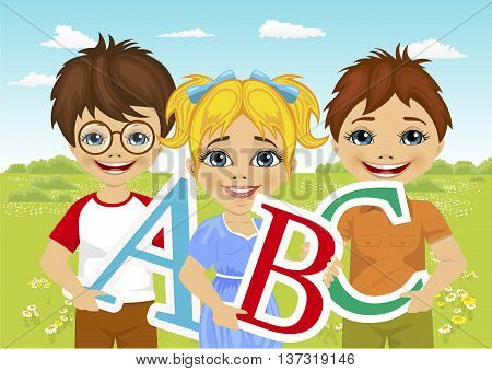 illustration of little kids holding the abc letters in flower field