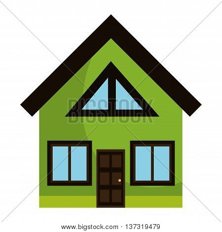 Green big house isolated flat icon, vector ilustration design.
