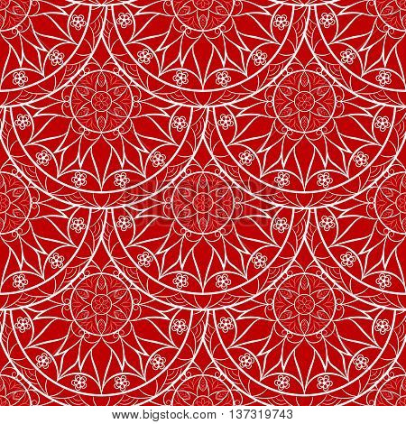 Vector Seamless Red Floral Mandala Pattern. Seamless pattern for your designs, invitation card, yoga, meditation, astrology and other wrapped projects. Fabric Mandala Pattern. Pattern in swatches panel.
