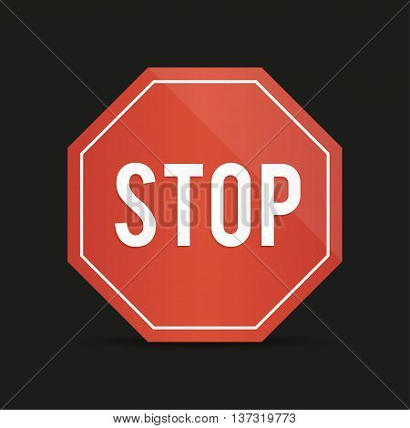 Traffic stop sign on a black background with shadow