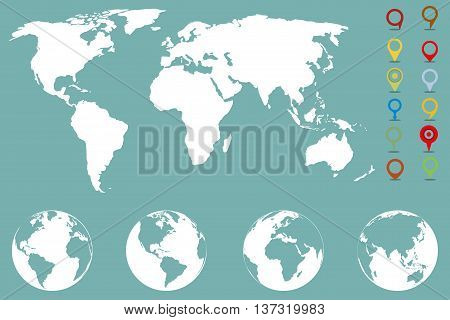 World map infographic template with different markers and four globe icons from different sides