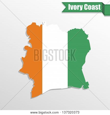 Ivory Coast map with flag inside and ribbon