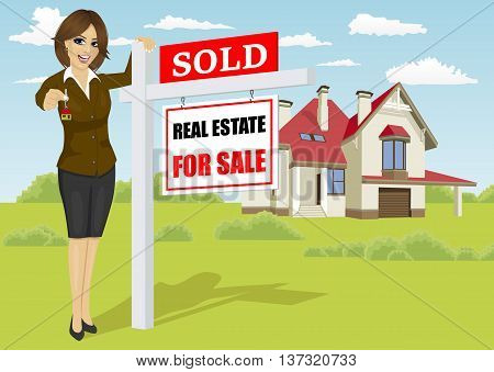Female real estate agent standing next to a sold for sale sign in front of classic cottage