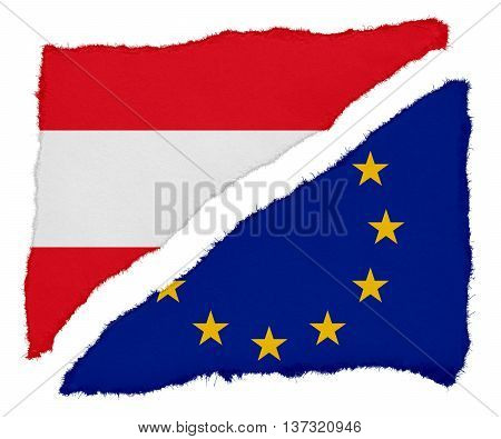 Austrian And Eu Flag Torn Paper Scraps Isolated On White Background