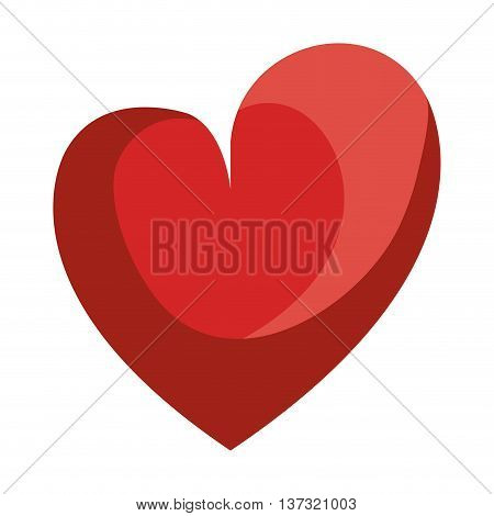 Red heart shape isolated icon, love and feelings design.