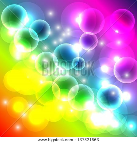 rainbow background bokeh, cheerful colorful vector background