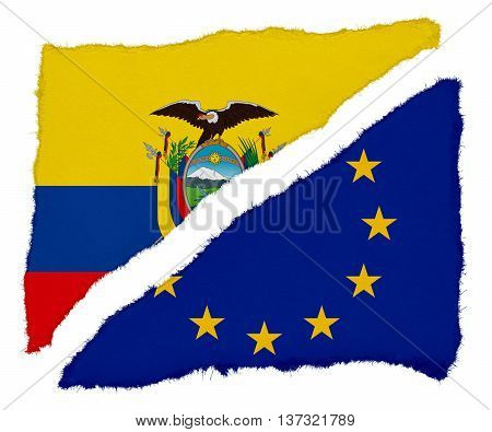 Ecuadorian And Eu Flag Torn Paper Scraps Isolated On White Background