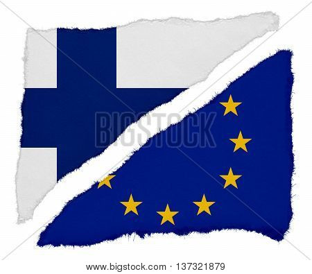Finnish And Eu Flag Torn Paper Scraps Isolated On White Background