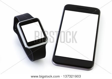 Smart watch sport with Smartphone on white background