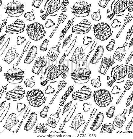 Hand Drawn Vector Illustration - Bbq Background (grill, Hot Dog. Hamburger, Fish, Beer, Meat). Seaml