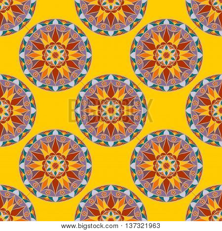 Vector Seamless Floral Mandala Pattern. Seamless pattern for your designs, invitation card, yoga, meditation, astrology and other wrapped projects. Fabric Mandala Pattern. Pattern in swatches panel.