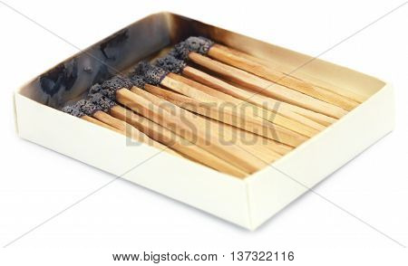 Close up of Burnt matchsticks over white background
