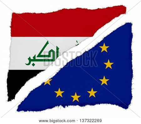 Iraqi And Eu Flag Torn Paper Scraps Isolated On White Background