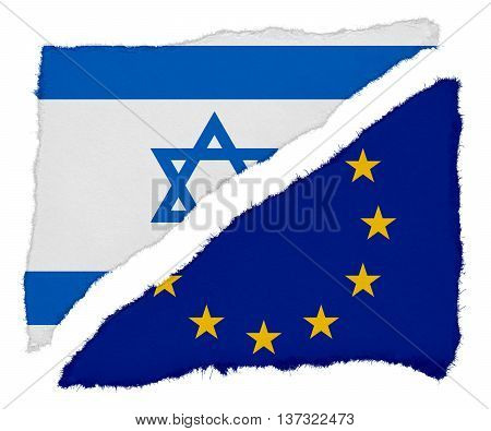 Israeli And Eu Flag Torn Paper Scraps Isolated On White Background