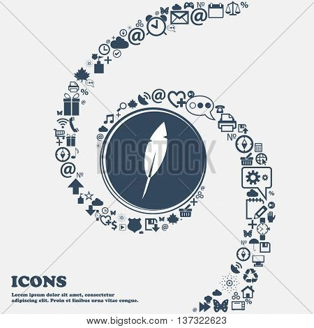 Feather Sign Icon. Retro Pen Symbo In The Center. Around The Many Beautiful Symbols Twisted In A Spi