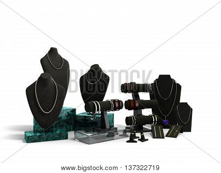 Stand For Jewelry In The Jewelry Display Cases 3D Render On White