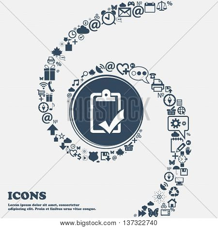 Document Grammar Control, Test, Work Complete Sign Icon In The Center. Around The Many Beautiful Sym