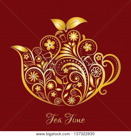 Vector Gold Floral Ornamental Teapot Over Dark Red. Zen art teapot style. Element for menu, cafe, restaurant, bar and tea house designs. Gold teapot flower design