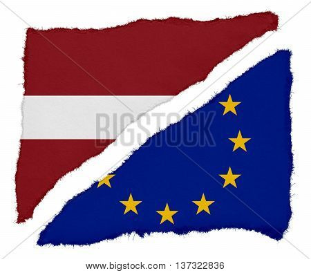 Latvian And Eu Flag Torn Paper Scraps Isolated On White Background