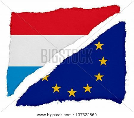Luxembourg And Eu Flag Torn Paper Scraps Isolated On White Background