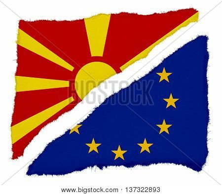 Macedonian And Eu Flag Torn Paper Scraps Isolated On White Background