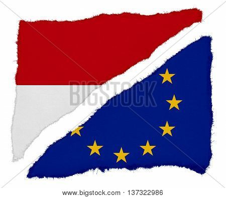 Monaco And Eu Flag Torn Paper Scraps Isolated On White Background