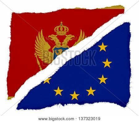Montenegrin And Eu Flag Torn Paper Scraps Isolated On White Background