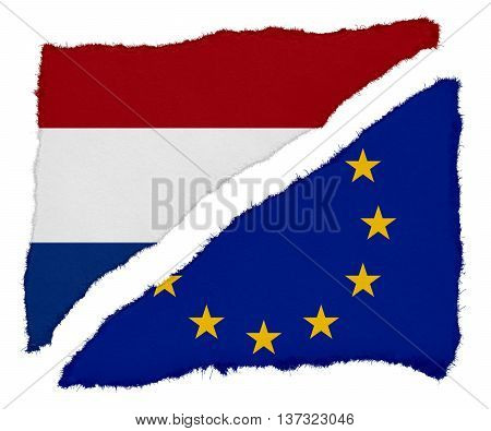 Dutch And Eu Flag Torn Paper Scraps Isolated On White Background