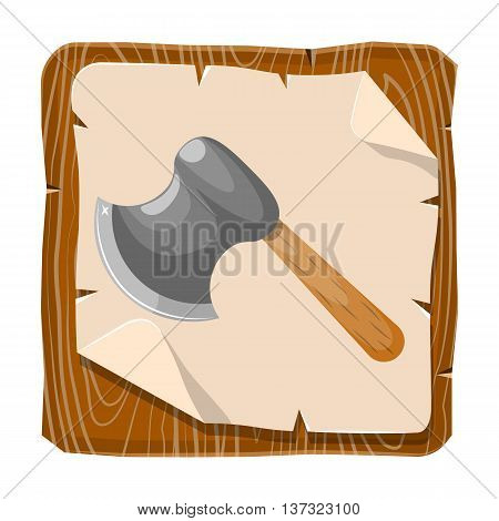 Axe colorful icon. Vector illustration in cartoon style