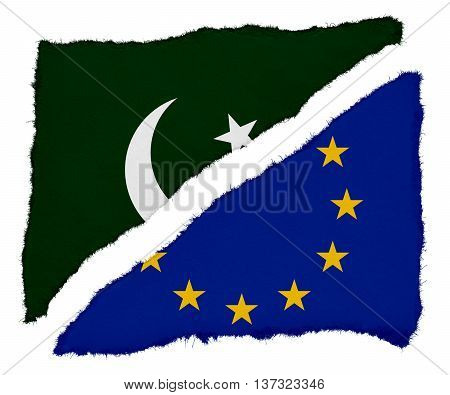 Pakistani And Eu Flag Torn Paper Scraps Isolated On White Background