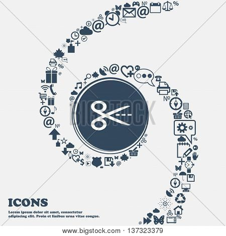 Scissors With Cut Dash Dotted Line Sign Icon. Tailor Symbol In The Center. Around The Many Beautiful