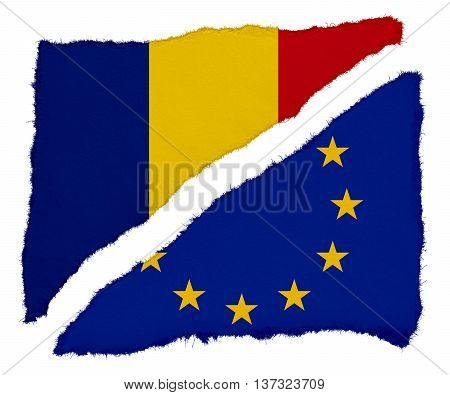 Romanian And Eu Flag Torn Paper Scraps Isolated On White Background