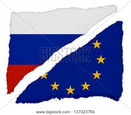 Russian And Eu Flag Torn Paper Scraps Isolated On White Background