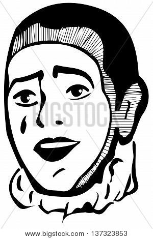 Vector Sketch White Mime Smiling