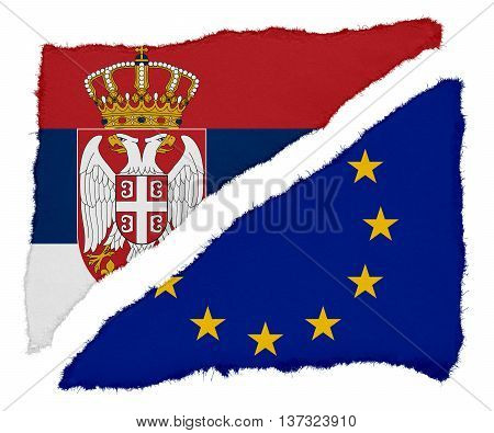 Serbian And Eu Flag Torn Paper Scraps Isolated On White Background