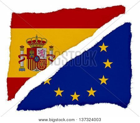 Spanish And Eu Flag Torn Paper Scraps Isolated On White Background