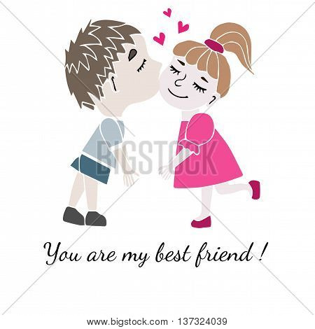 Two best friends boy and girl together with inscription You are my best friend isolated on the white background. Vector illustration about friendship.