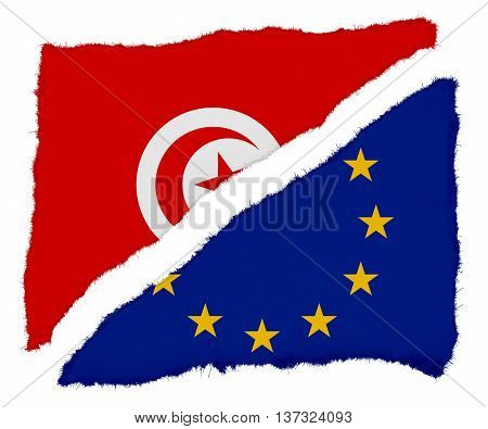 Tunisian And Eu Flag Torn Paper Scraps Isolated On White Background