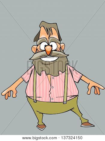 cartoon cheerful grandfather with a beard and mustache