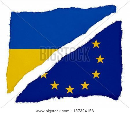 Ukrainian And Eu Flag Torn Paper Scraps Isolated On White Background
