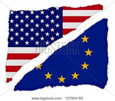Us And Eu Flag Torn Paper Scraps Isolated On White Background
