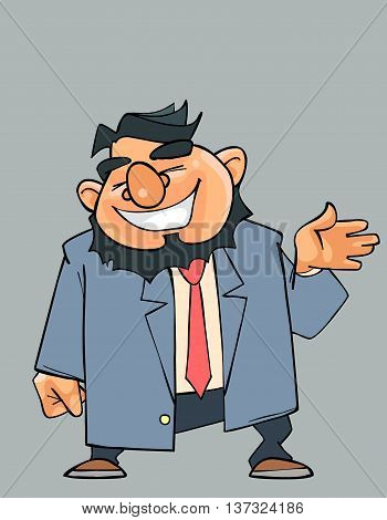 cartoon laughing bearded man in a suit with a tie